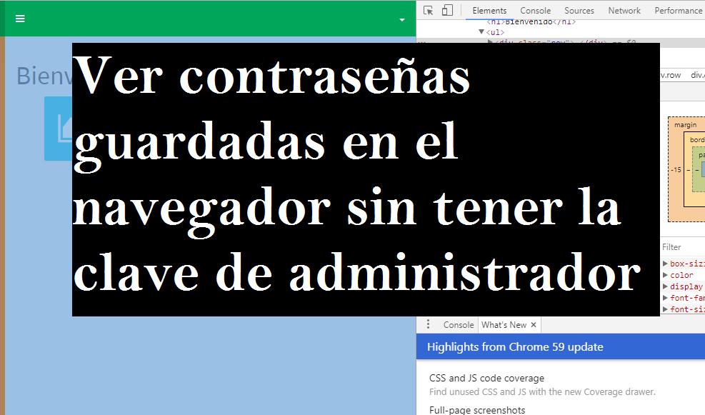 Ver contraseñas guardadas en el navegador sin tener la clave de administrador