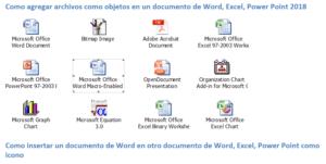 objetos en word,Excel y power point