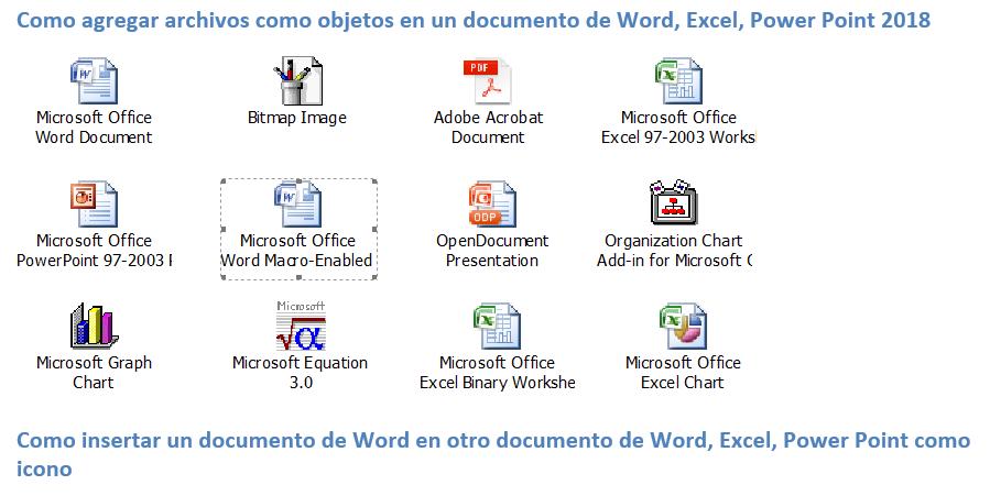 Como agregar archivos como objetos en un documento de Word, Excel, Power Point 2018