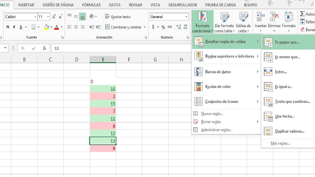 Colocar color a las celdas en Excel dependiendo su valor