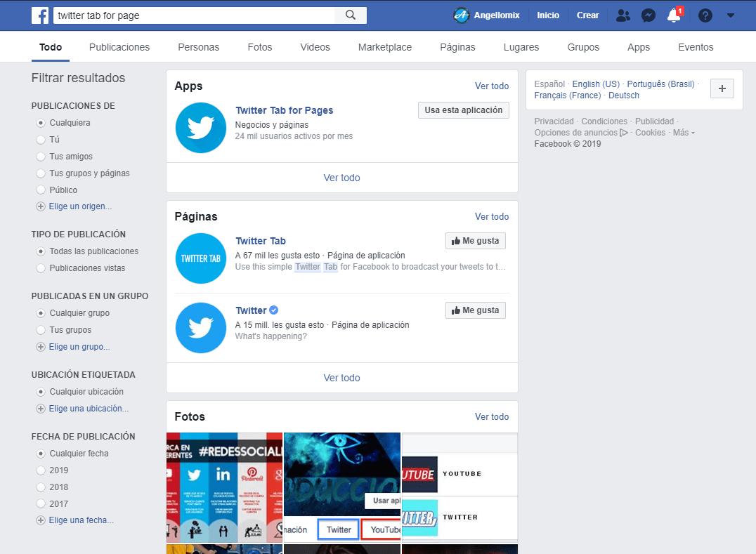 3 twiter en facebook