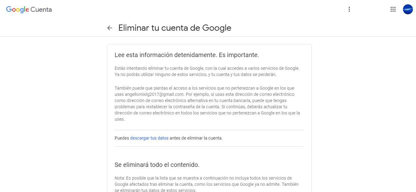 elimina tu cuenta google para siempre