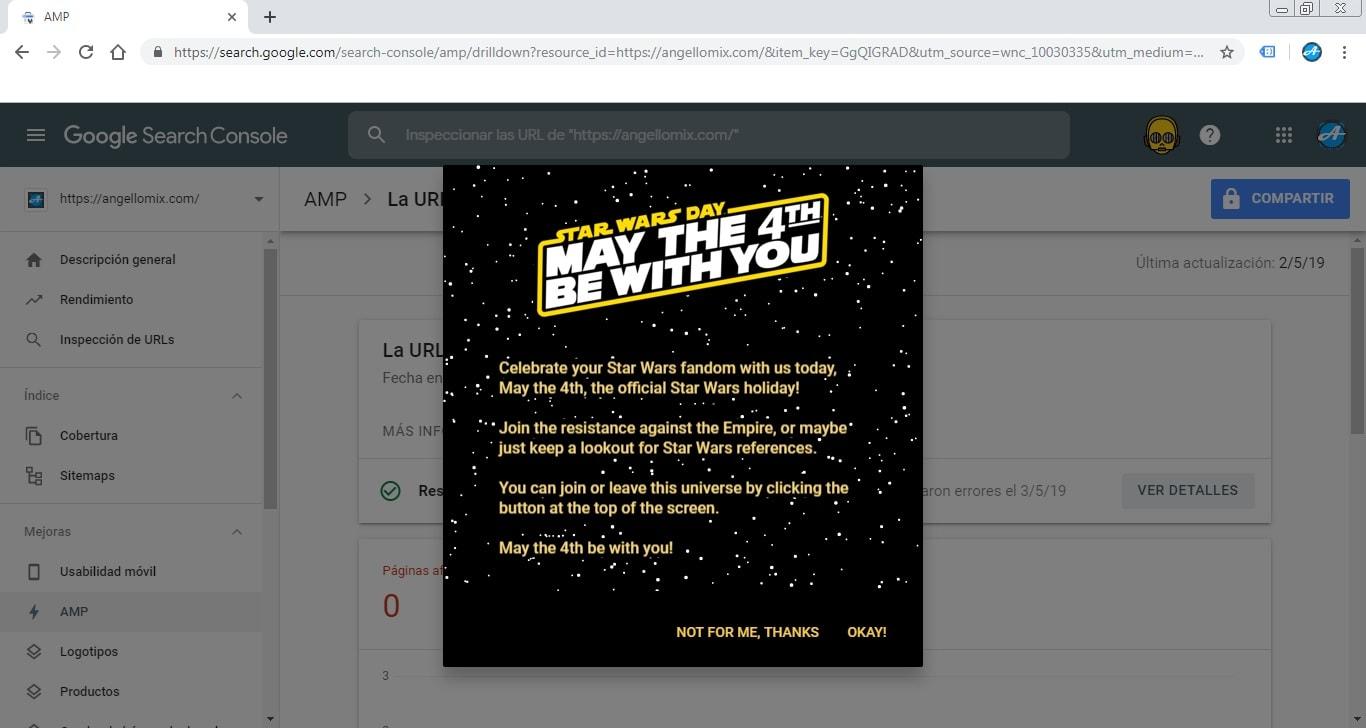Activar modo star wars en Google Search Console
