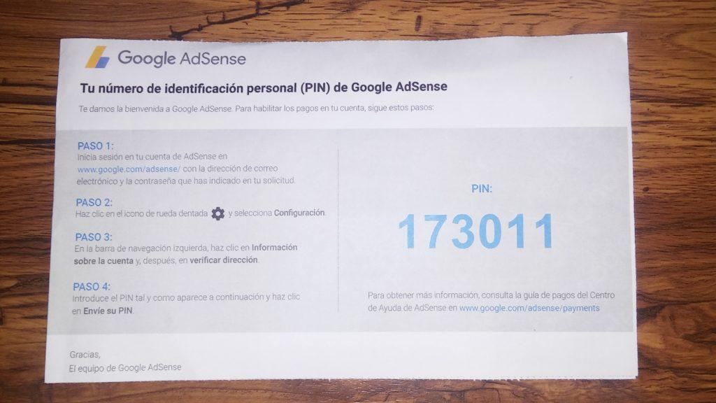 codigo-para-activar-cuenta-de-google-adsense-PIN