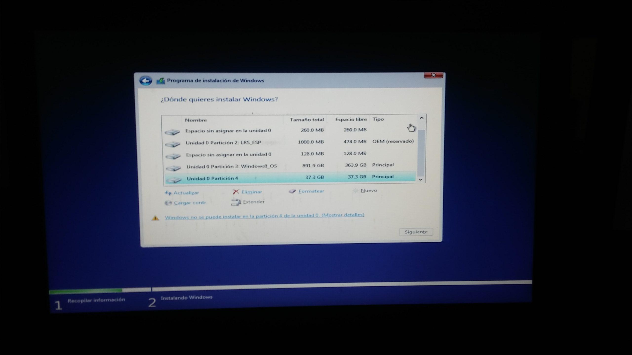 No se puede instalar Windows error disco duro