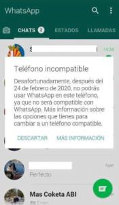 whatsapp incompatible con algunos dispositivos en 2020