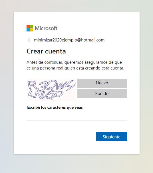 verificación al crear correo hotmail nuevo