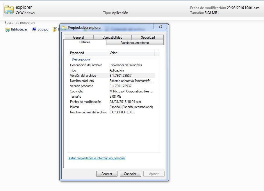 version de windows 7 instalada en un disco duro externo conectado por usb a otro equipo