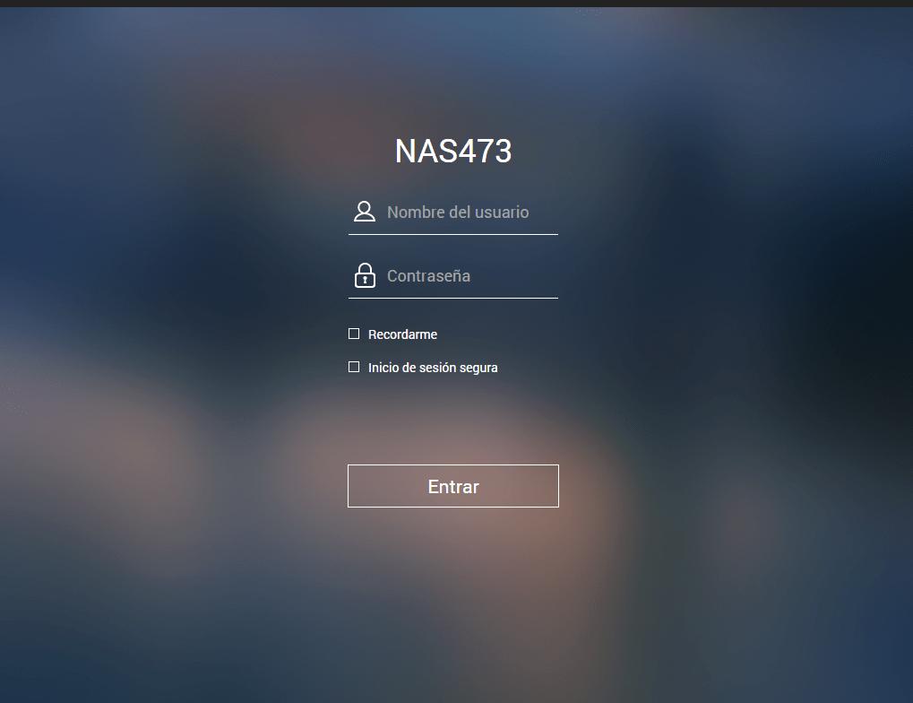login inicial de un NAS