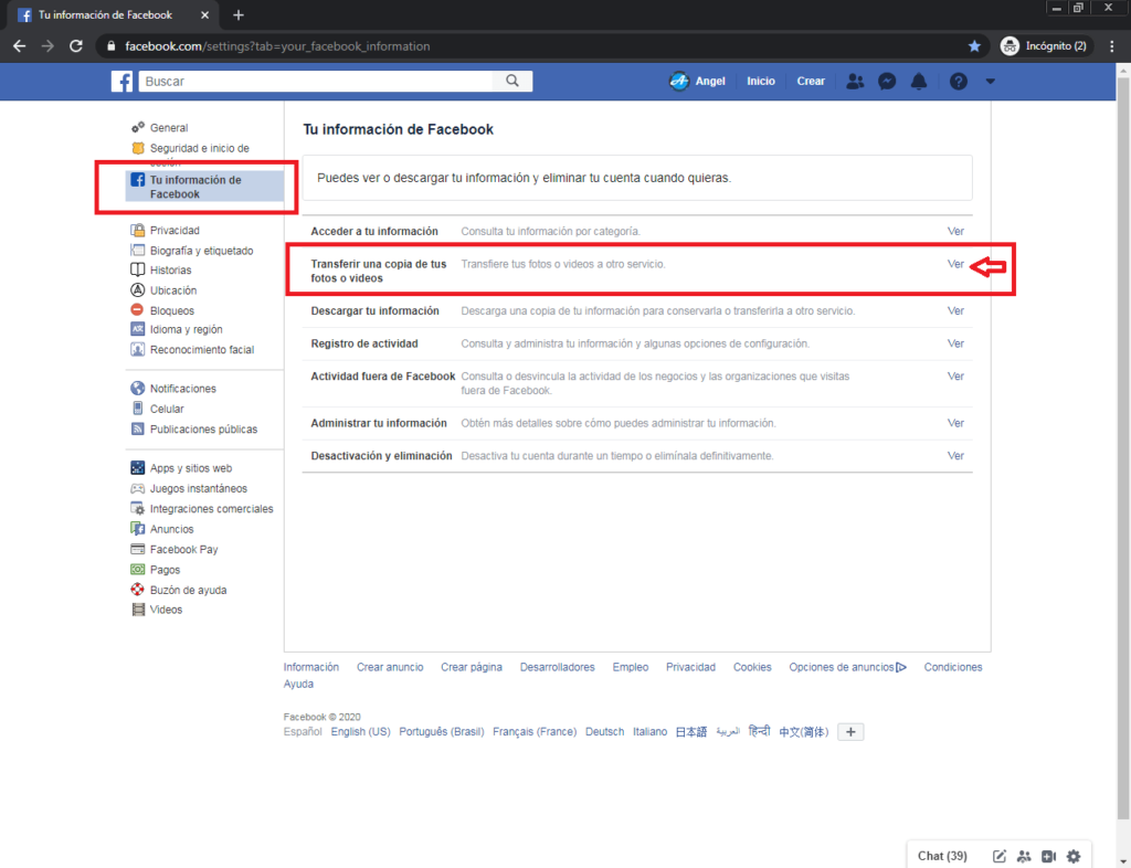 2 enviar tus fotos y videos de facebook a google fotos en automatico paso a paso