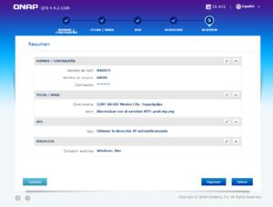 resumen de configuraciones en NAS 473