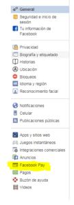 menu facebook pay