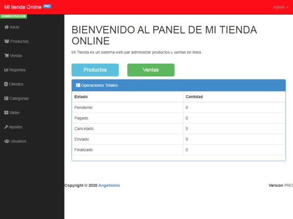 panel de administración sistema web mi tienda en linea php
