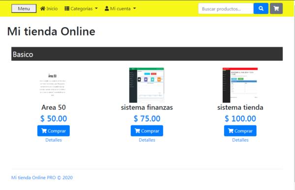presentacion de productos en tienda online