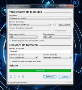 proceso finalizado la usb ya tiene un sistema operativo o programa ejecutable