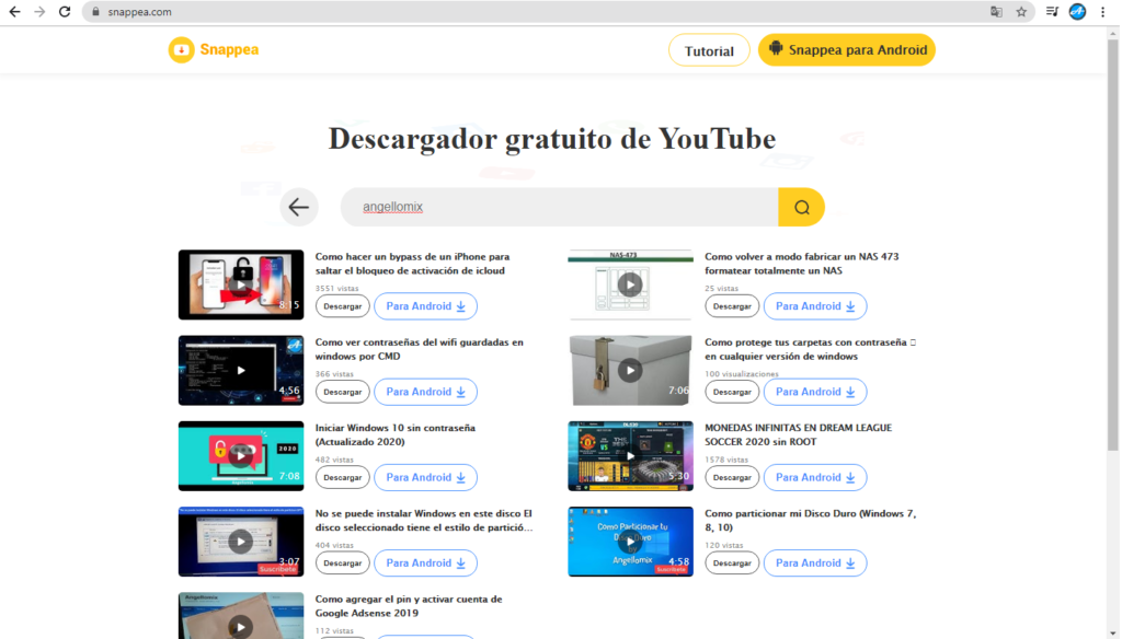 snappea búsqueda de vídeos por palabra clave