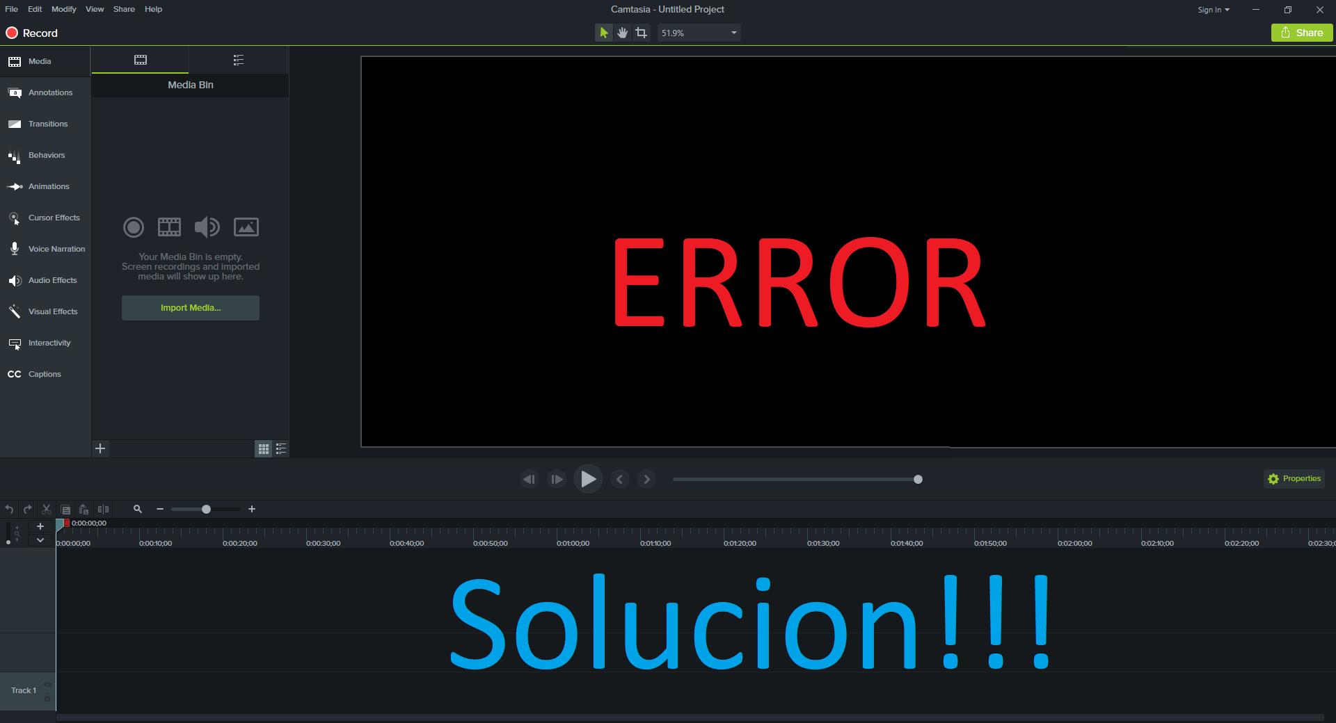 Camtasia studio 9 error de visualización pantalla negra