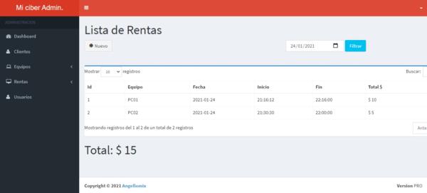 Sistema web para control de ciber cafe online en php y mysql clientes en renta