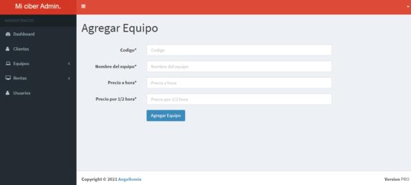 Sistema web para control de ciber cafe online en php y mysql modulo equipo nuevo
