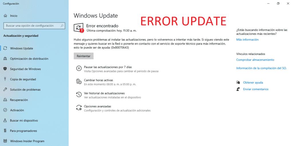 error Update windows 10