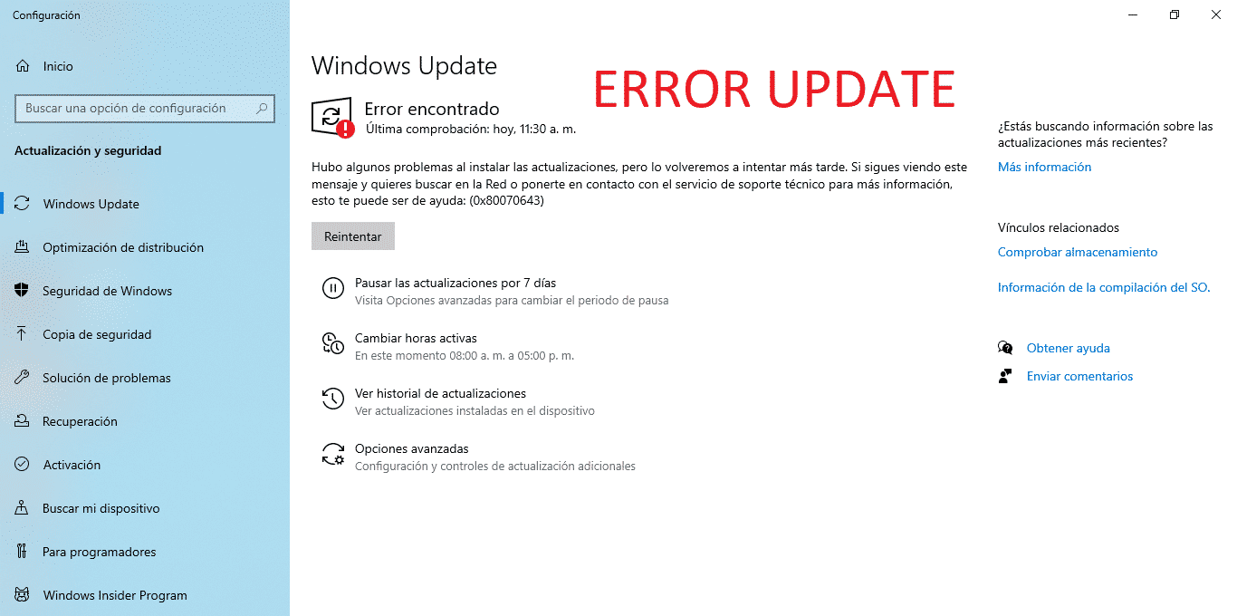 Solución error con actualizaciones de Windows 10