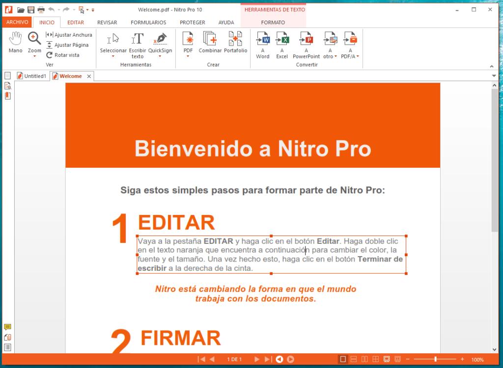 Nitro pro 10 editar pdf en windows
