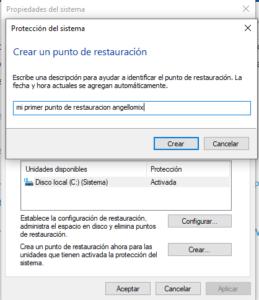 Nombrando nuestro primer punto de restauración en Windows